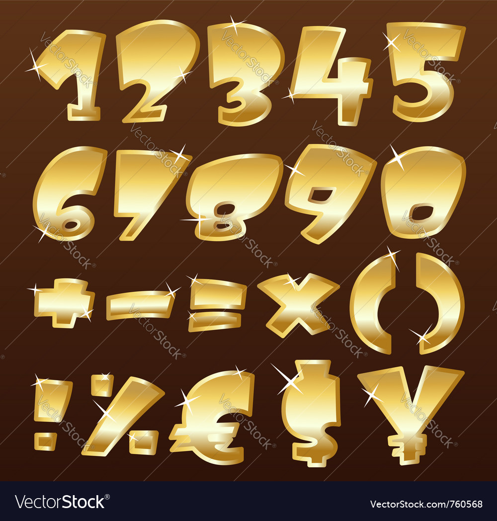 Gold numbers vector | Price: 1 Credit (USD $1)