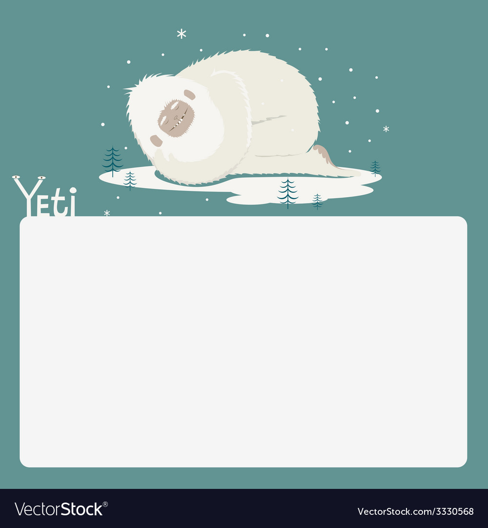 Holiday card with sleeping yeti vector | Price: 1 Credit (USD $1)
