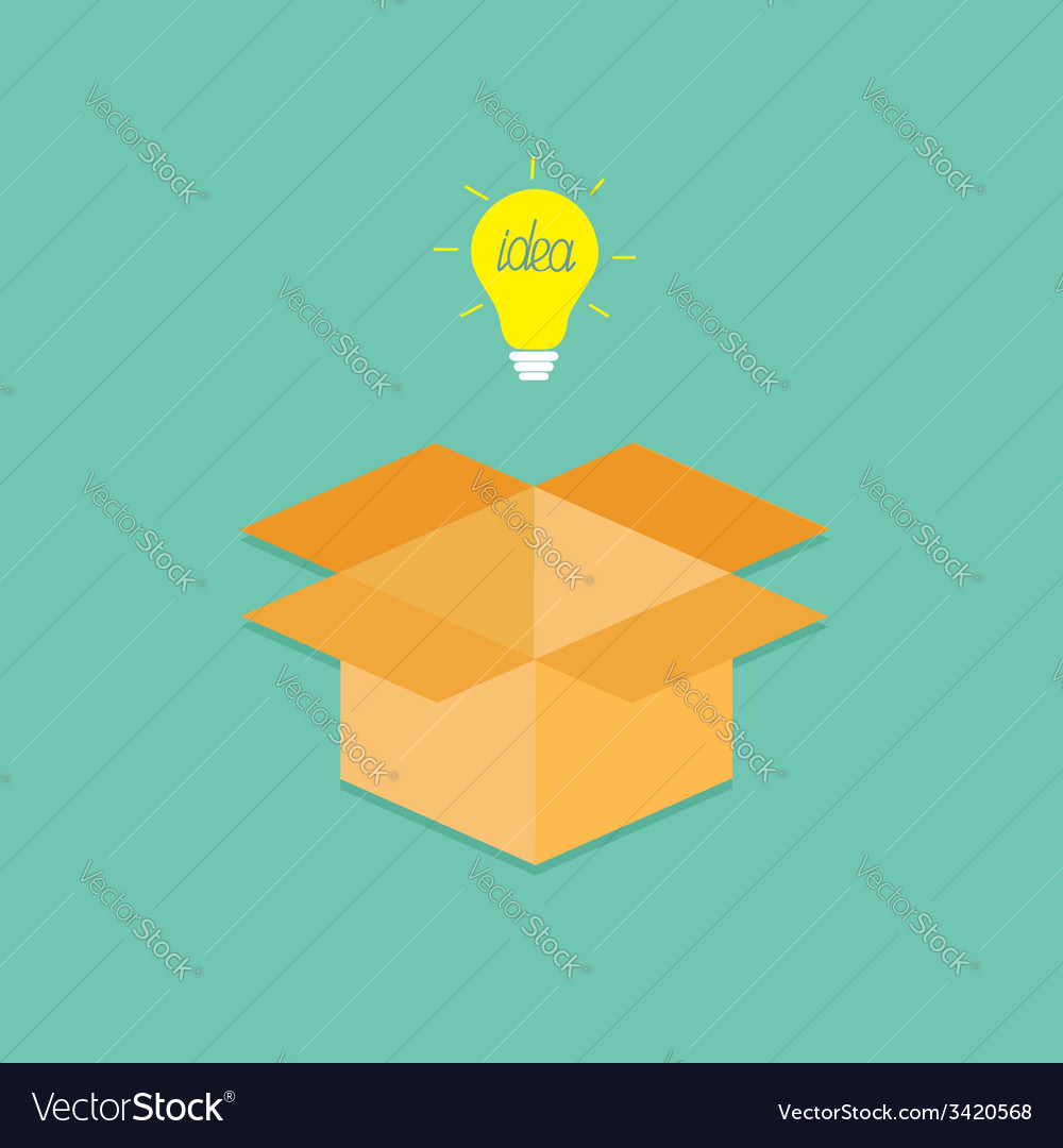 Light bulb and opened cardboard package box vector | Price: 1 Credit (USD $1)