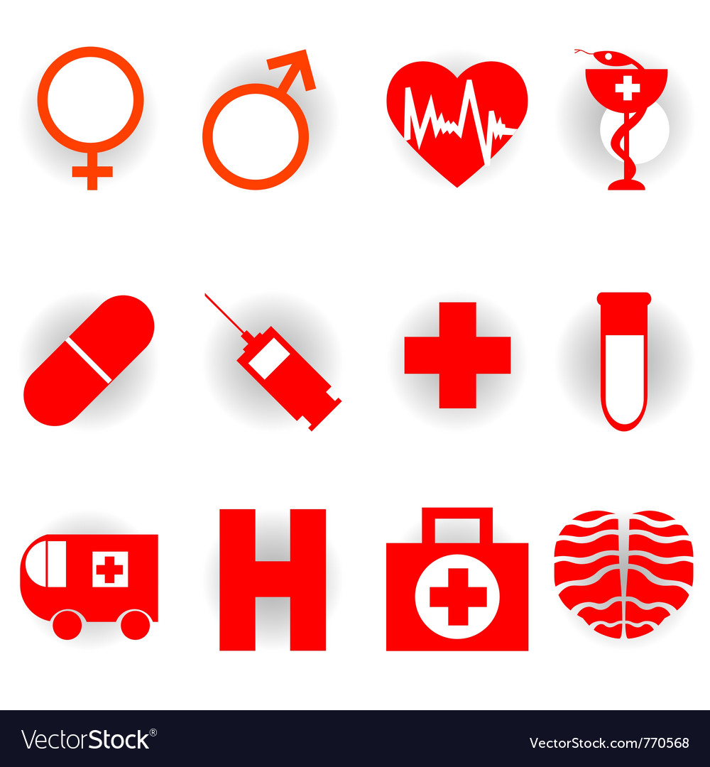 Medical red icons vector | Price: 1 Credit (USD $1)