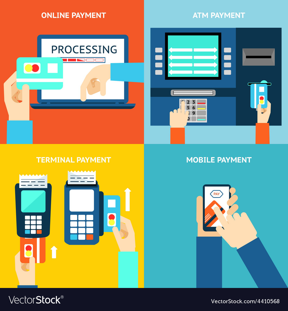 Payment methods credit card cash mobile app and vector   Price: 1 Credit (USD $1)