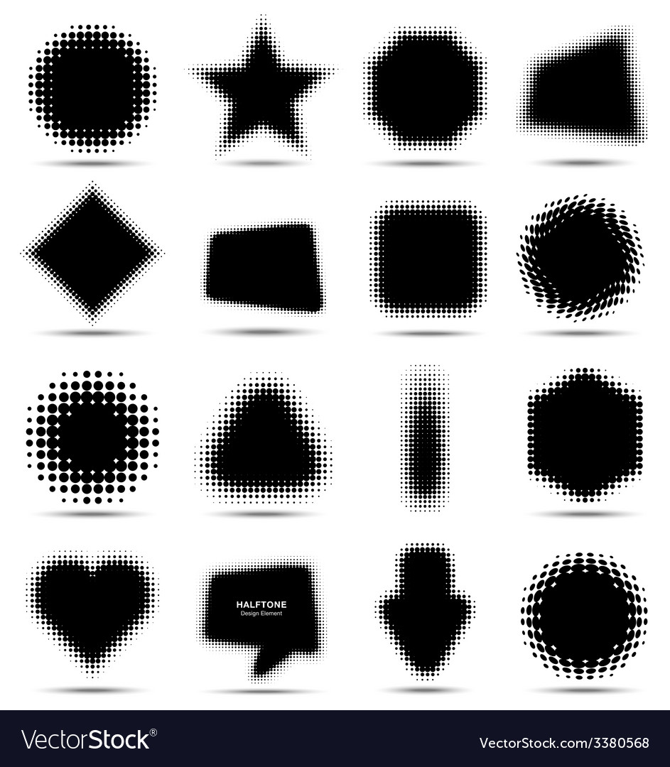 Set of 16 abstract halftone design elements vector | Price: 1 Credit (USD $1)