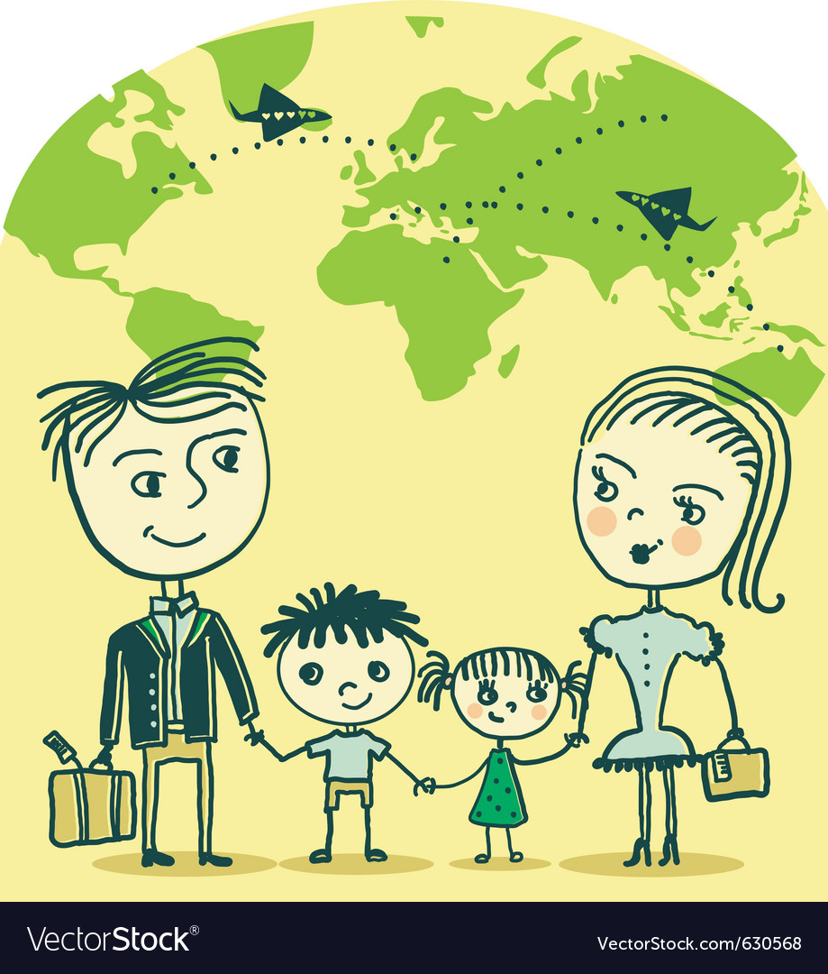 Travelling family vector | Price: 1 Credit (USD $1)