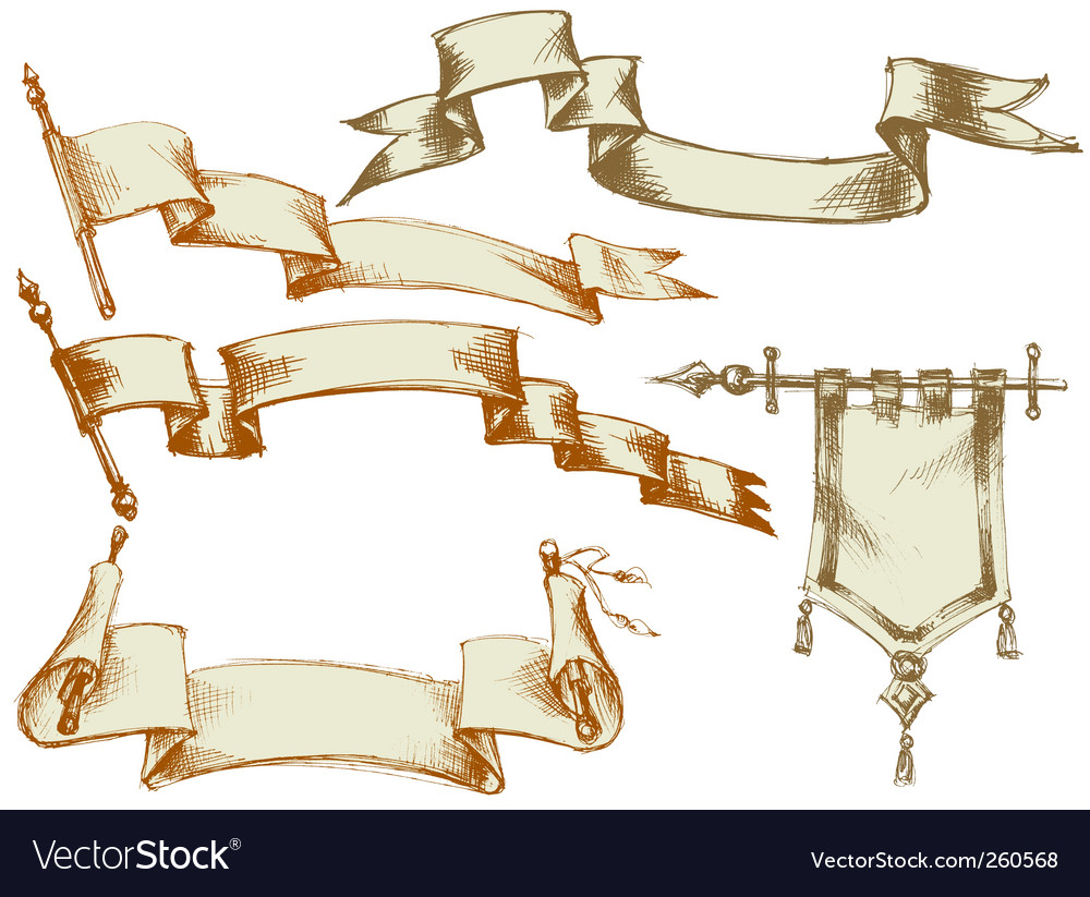 Vintage flags and scrolls vector | Price: 1 Credit (USD $1)