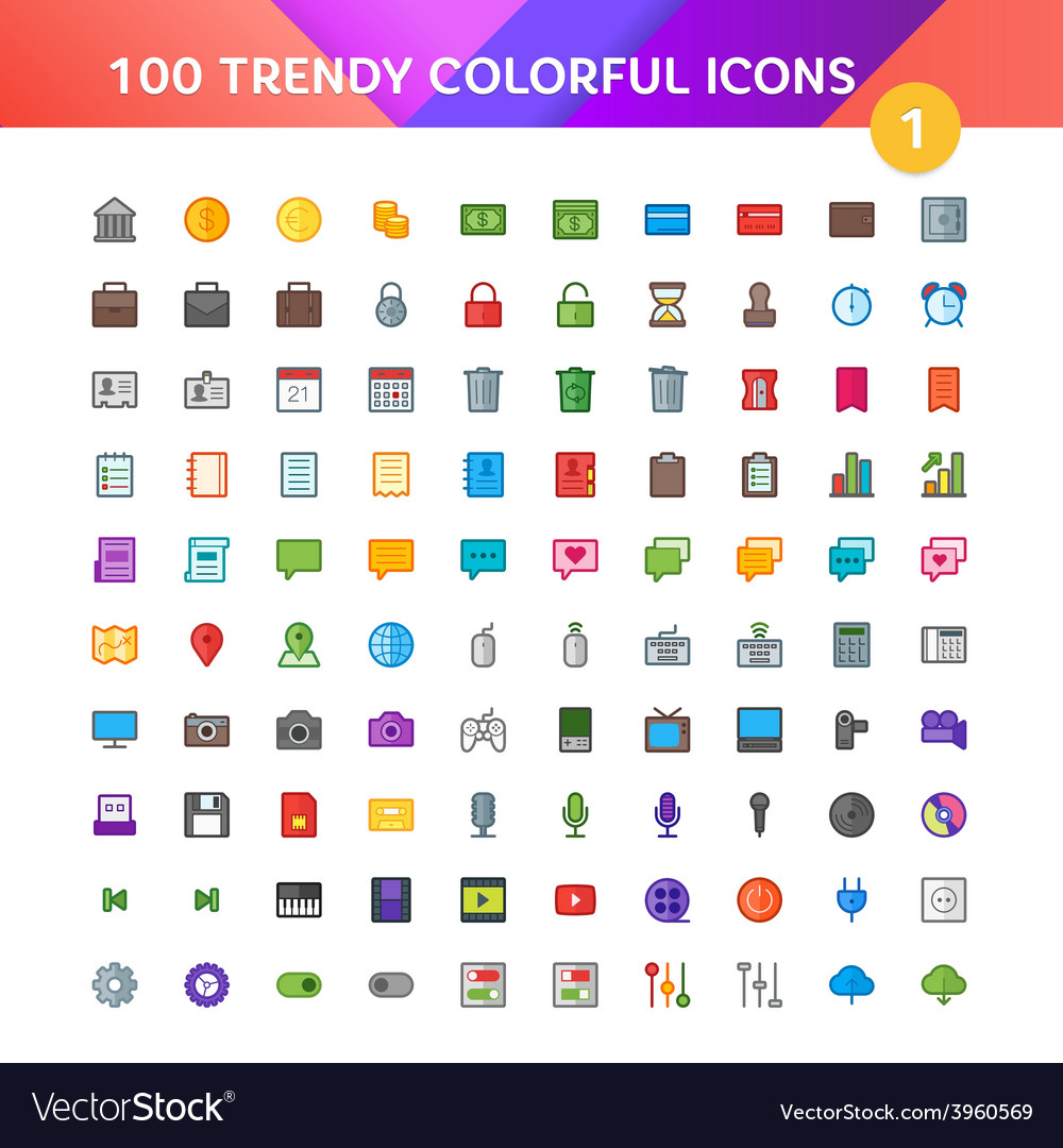 100 universal icons set 1 vector | Price: 1 Credit (USD $1)