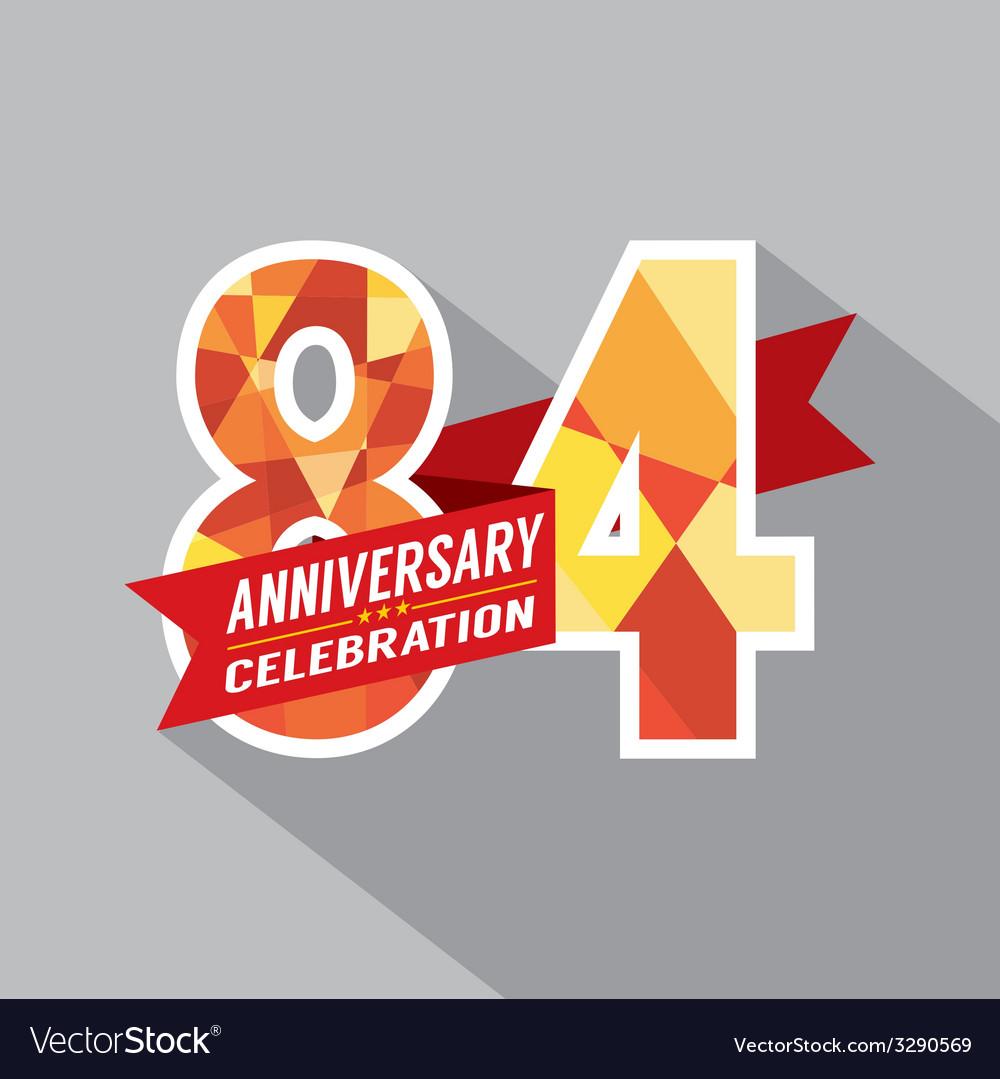 84th years anniversary celebration design vector | Price: 1 Credit (USD $1)