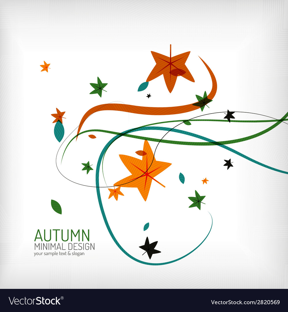 Autumn swirl lines and leaves on white vector | Price: 1 Credit (USD $1)