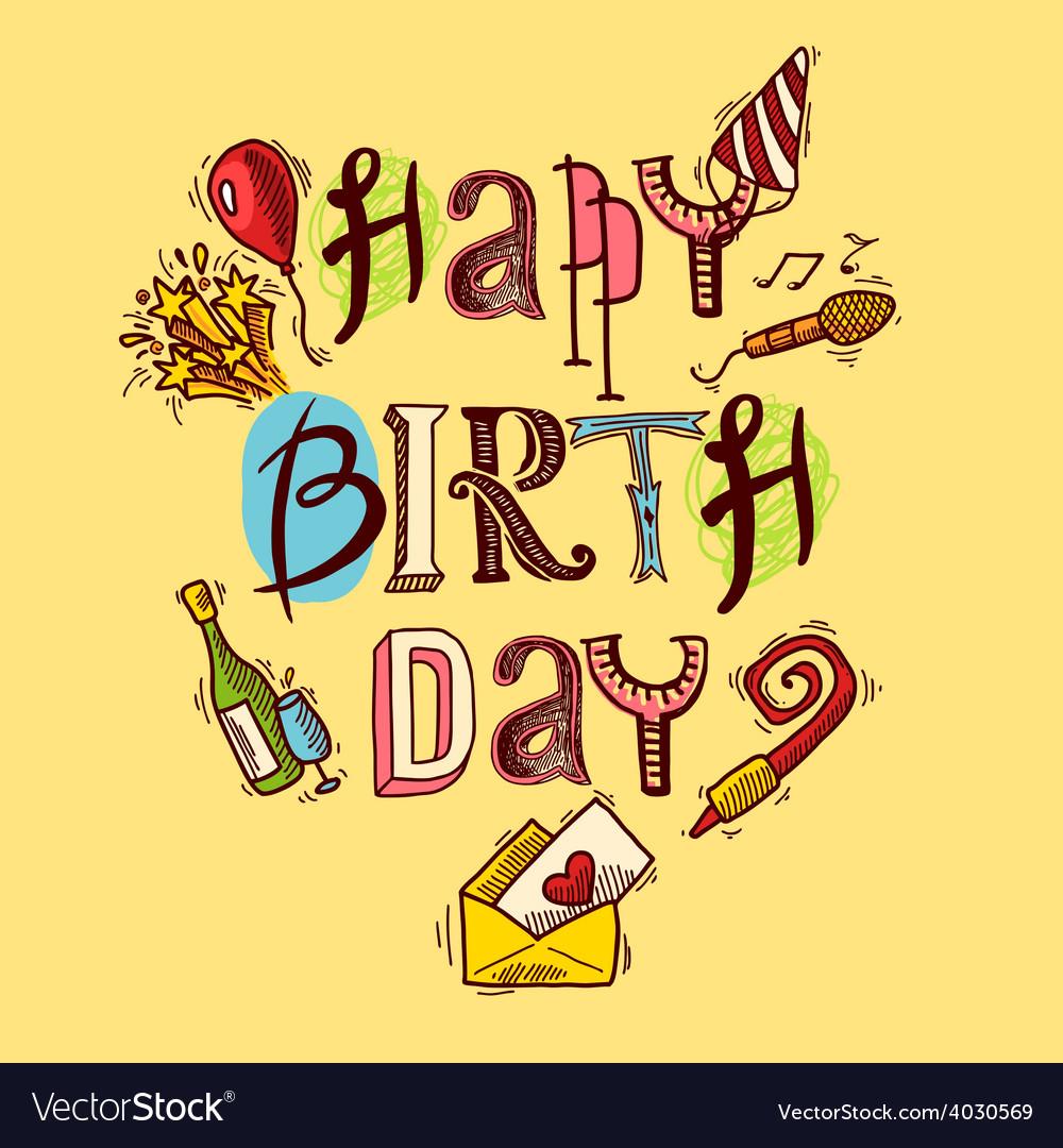 Birthday card sketch vector | Price: 1 Credit (USD $1)