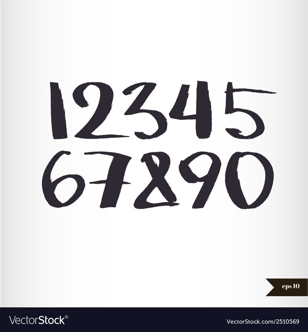 Calligraphic watercolor numbers vector | Price: 1 Credit (USD $1)