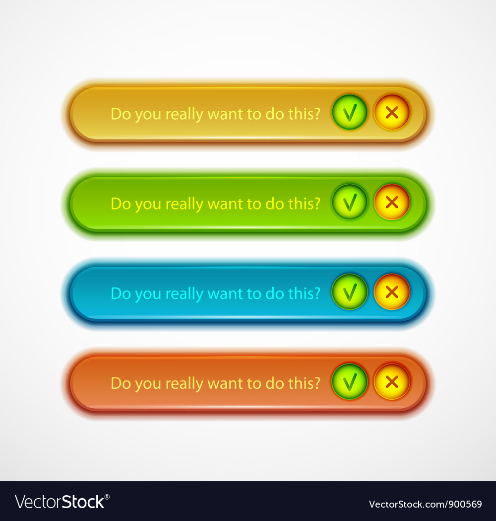 Confirmation dialog set vector | Price: 1 Credit (USD $1)