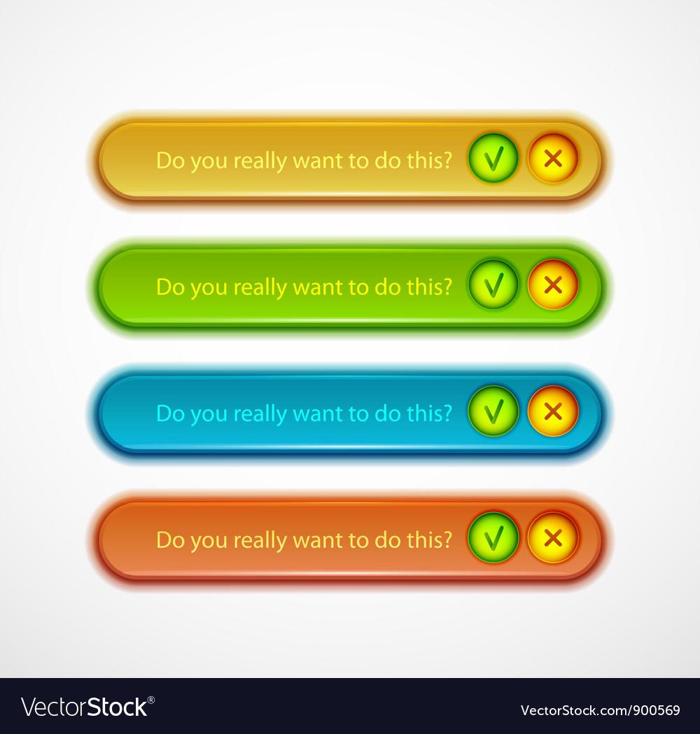 Confirmation dialog set vector | Price: 1 Credit (USD $1)