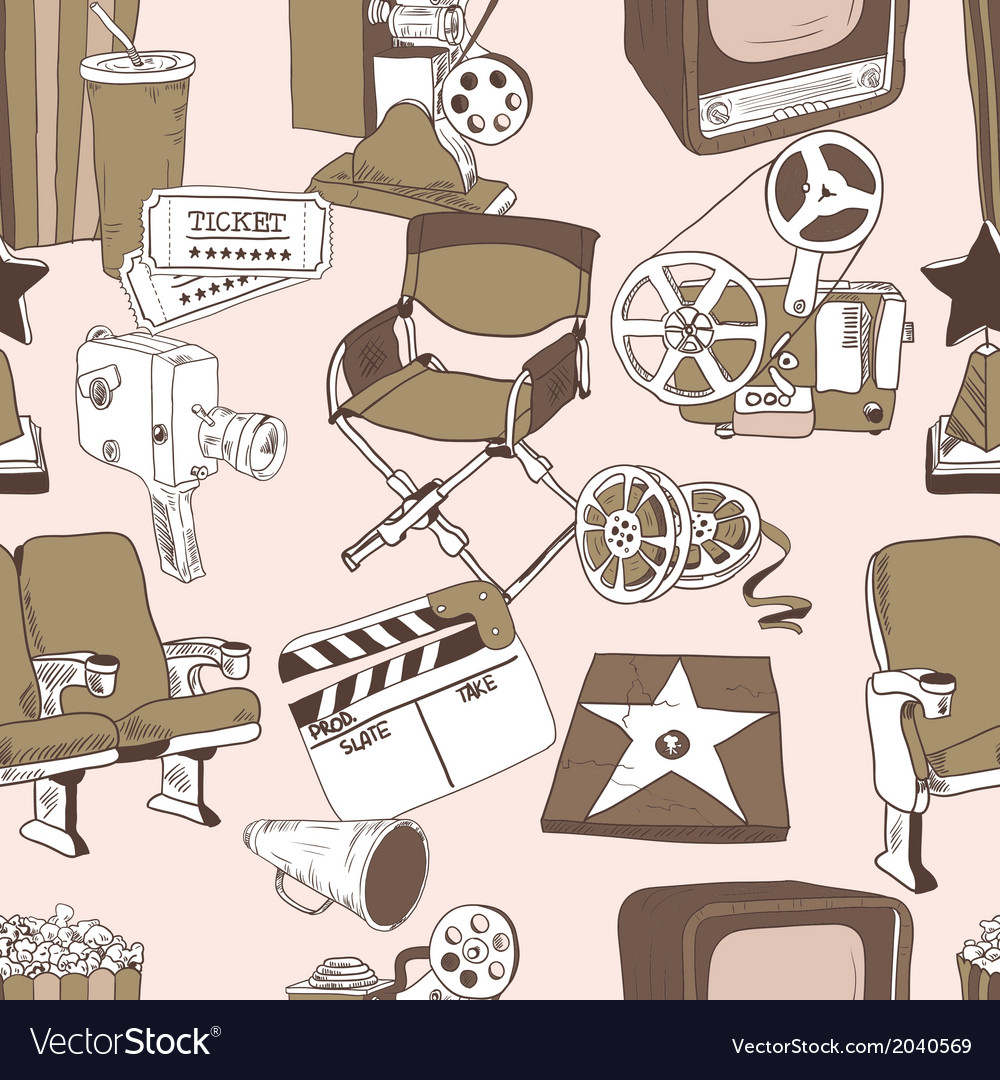 Doodle cinema seamless pattern vector | Price: 1 Credit (USD $1)
