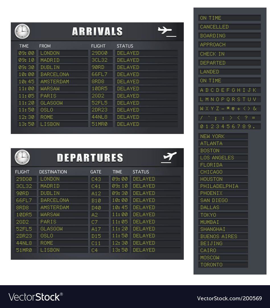 Flight information set 1 delayed vector | Price: 1 Credit (USD $1)