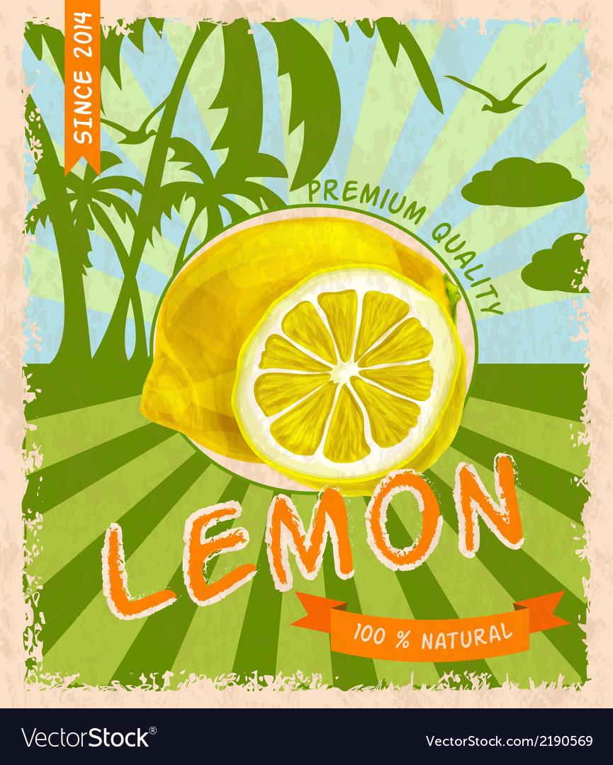 Lemon retro poster vector   Price: 1 Credit (USD $1)
