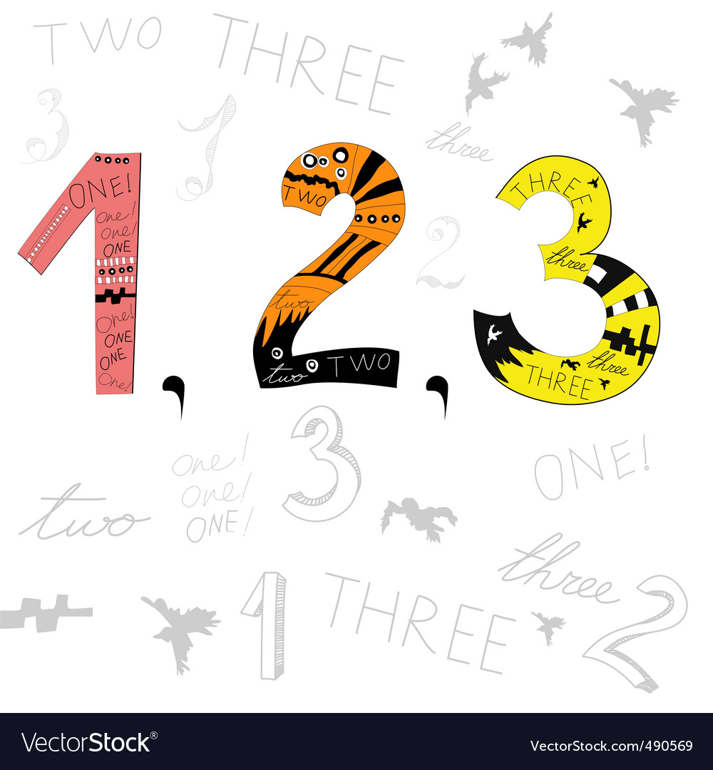 Numbers 1 2 3 vector | Price: 1 Credit (USD $1)