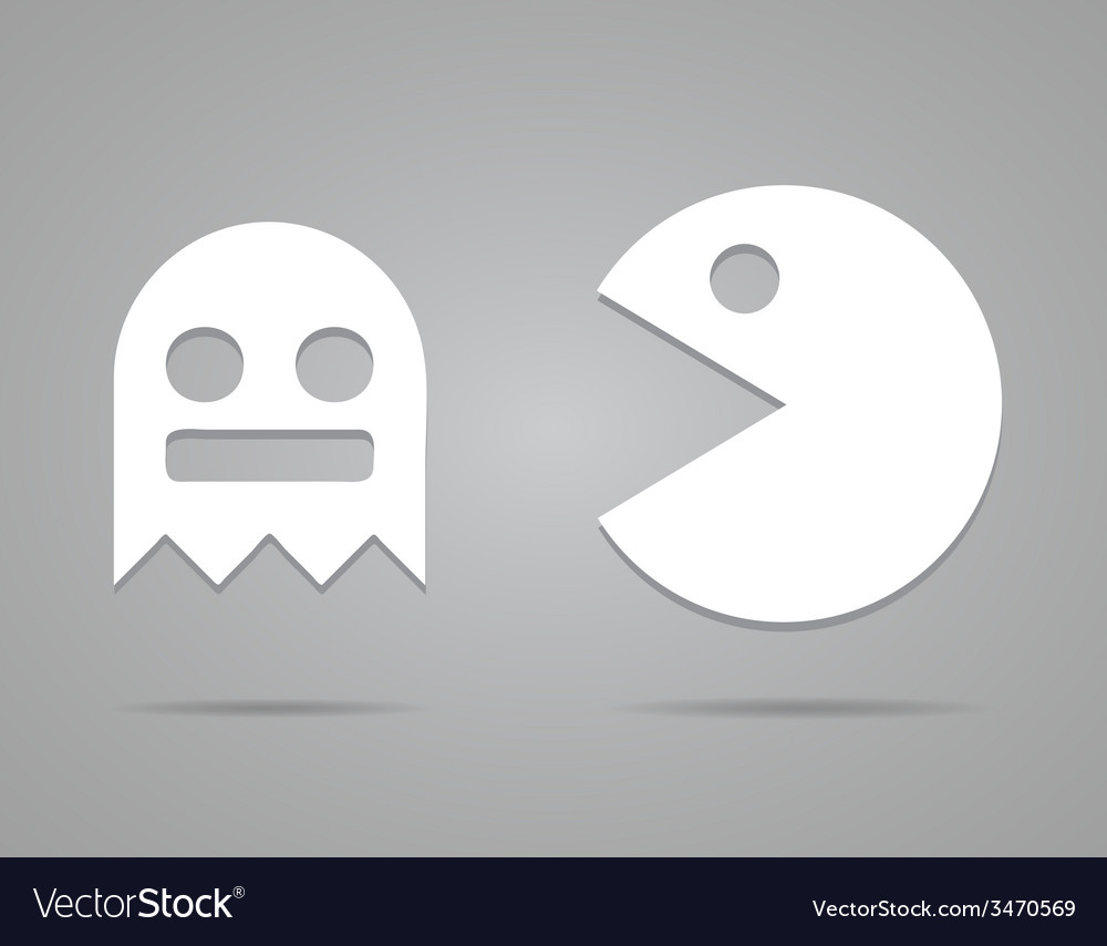 Paper pacman ghosts 8bit retro game icons set  eps vector | Price: 1 Credit (USD $1)