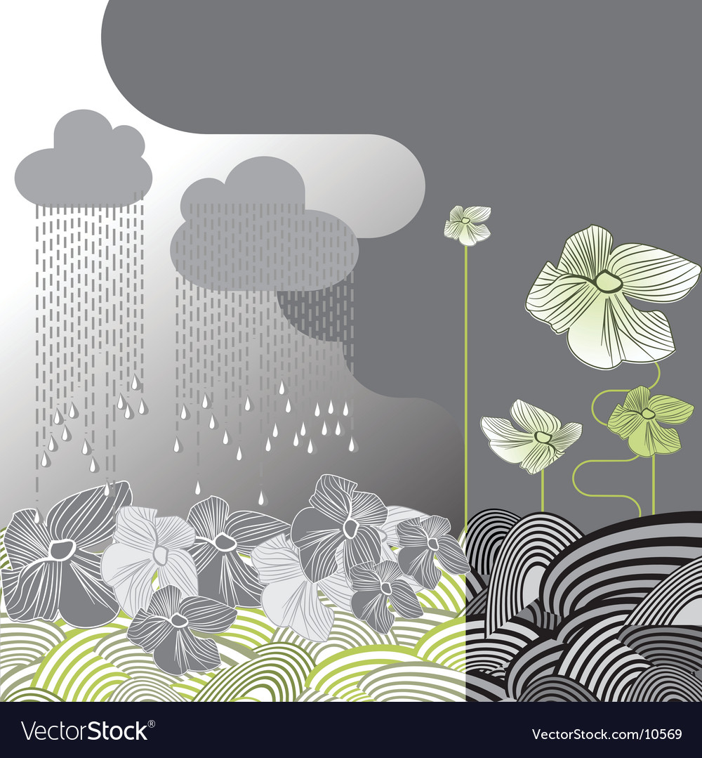 Rainy day flowers vector | Price: 1 Credit (USD $1)
