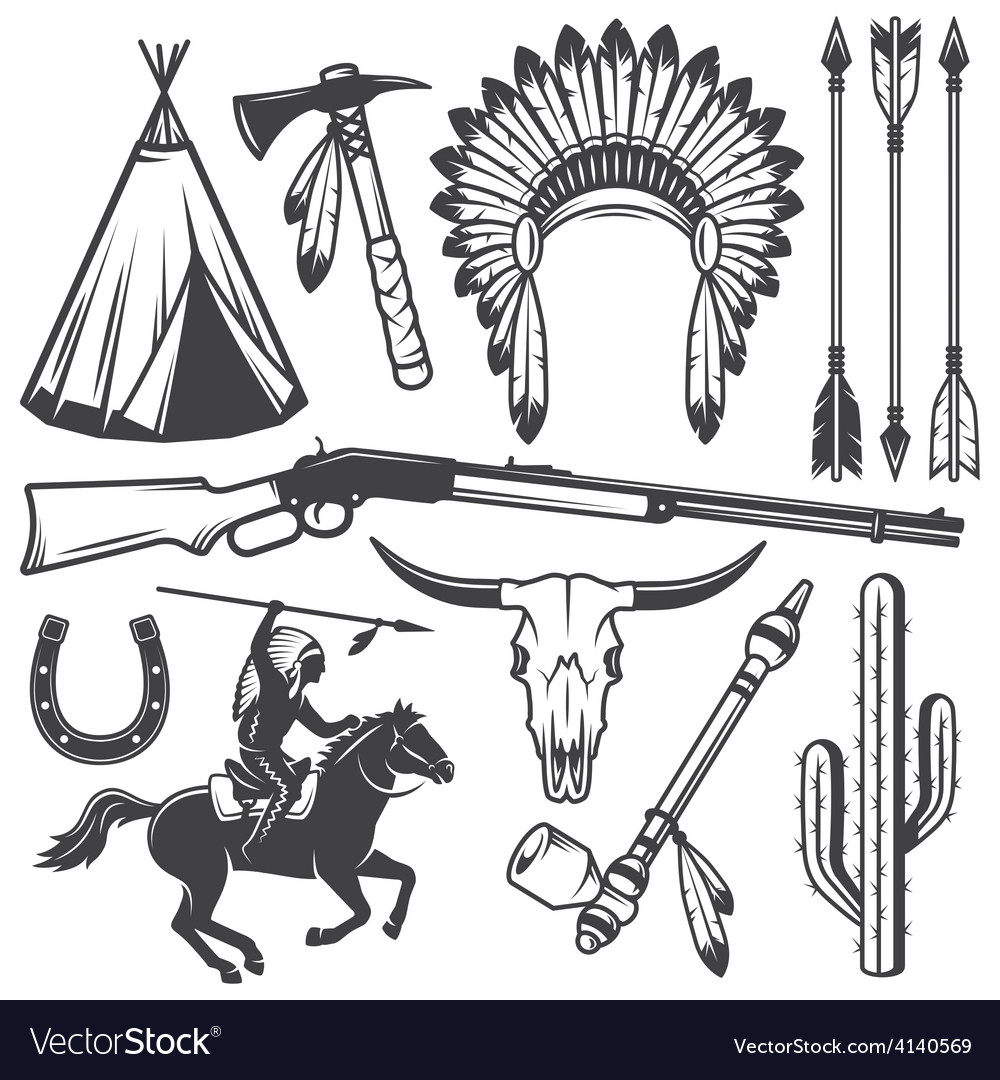 Set of wild west american indian designed elements vector | Price: 1 Credit (USD $1)