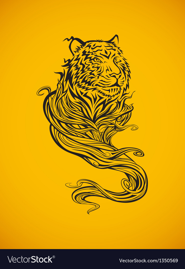 Tiger spirit dark vector | Price: 1 Credit (USD $1)