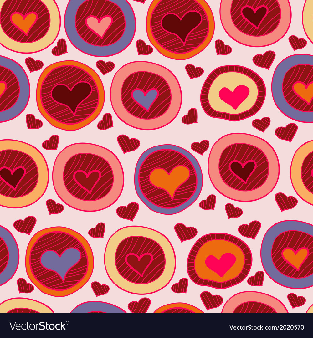 Bright valentine seamless pattern with hearts vector | Price: 1 Credit (USD $1)