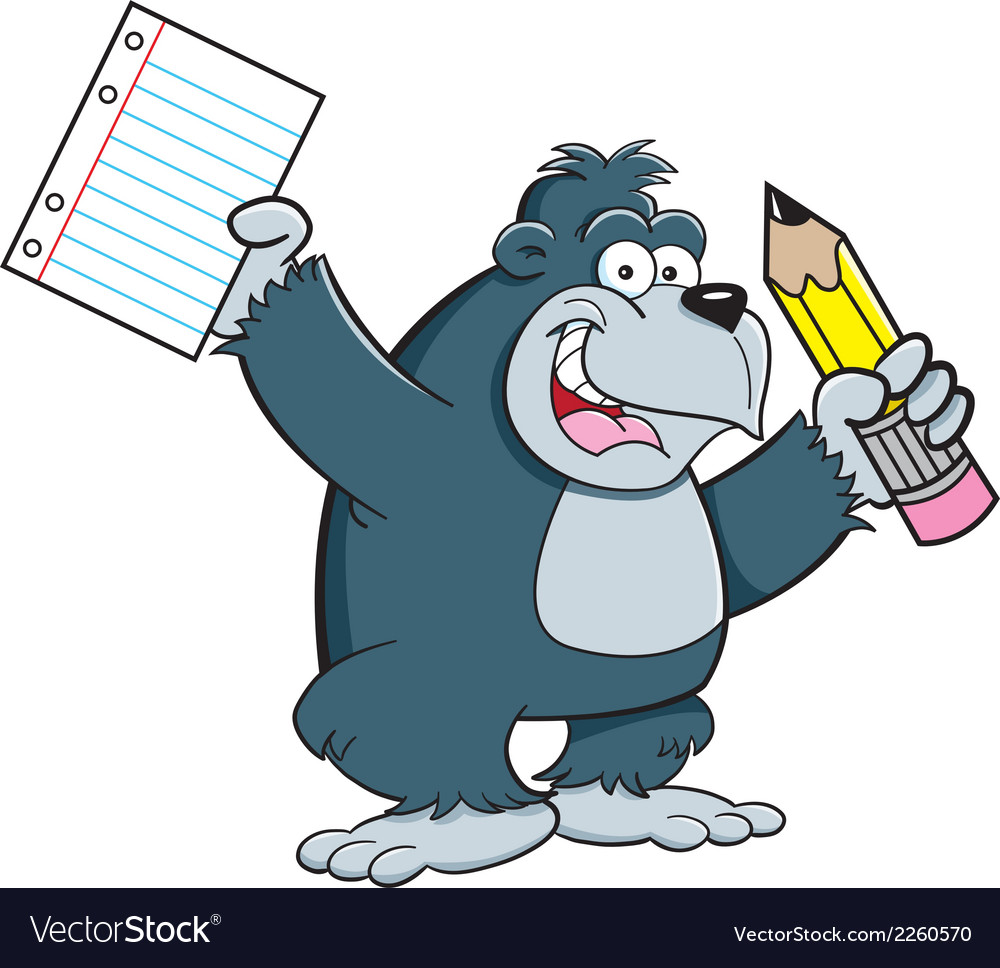 Cartoon gorilla student vector | Price: 1 Credit (USD $1)