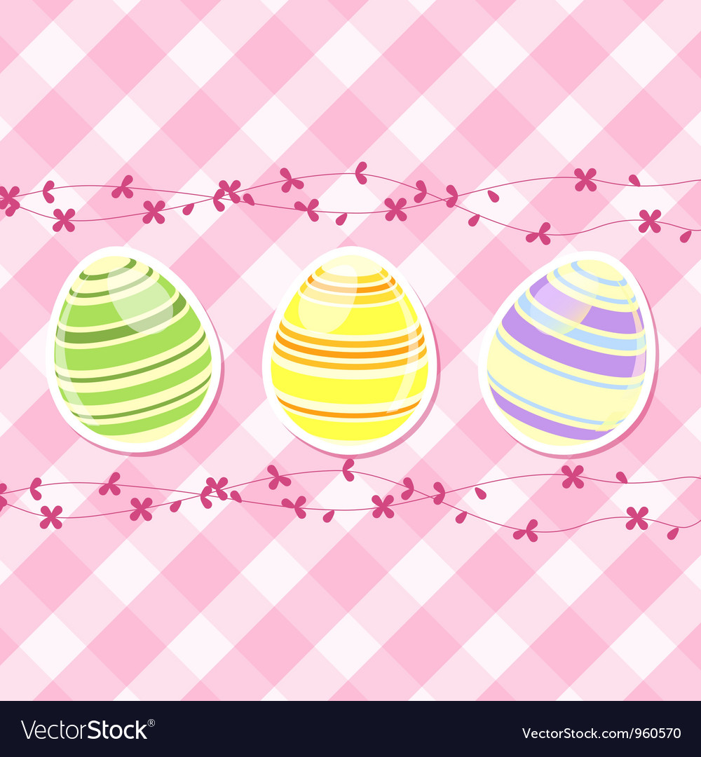 Easter egg and spring flowers on pink gingham vector | Price: 1 Credit (USD $1)