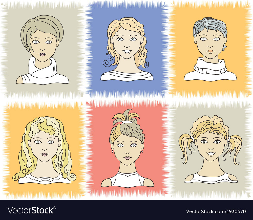 Faces girls 1-2 vector   Price: 1 Credit (USD $1)