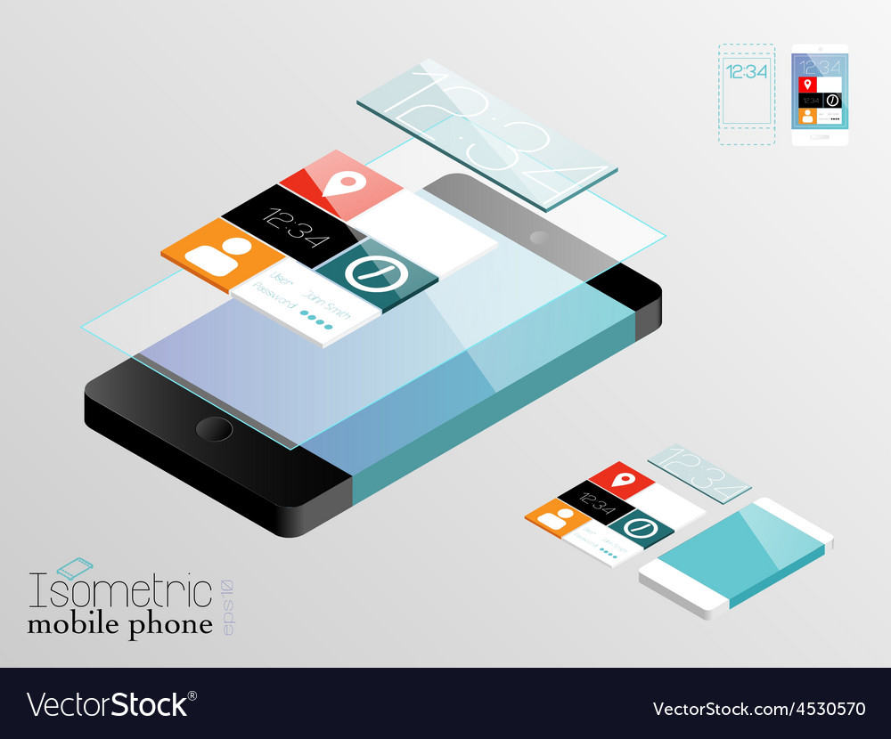 Isometric mobile phone vector | Price: 1 Credit (USD $1)