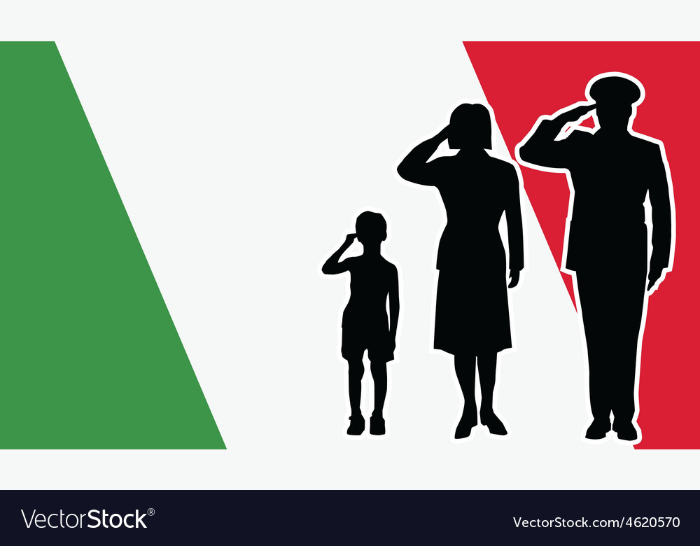 Italy soldier family salute vector | Price: 1 Credit (USD $1)