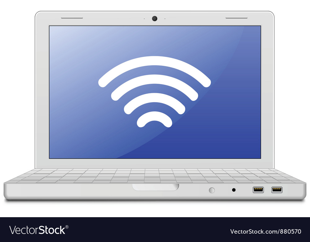 Laptop and wireless network vector | Price: 1 Credit (USD $1)