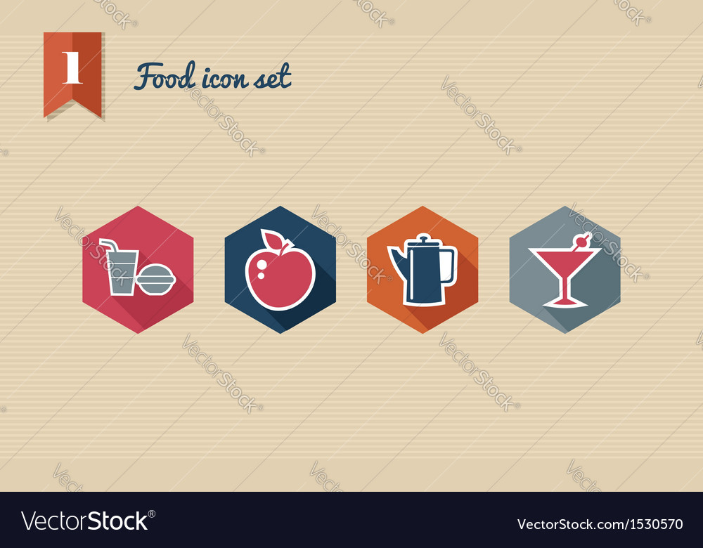 Menu food flat icons set vector | Price: 1 Credit (USD $1)