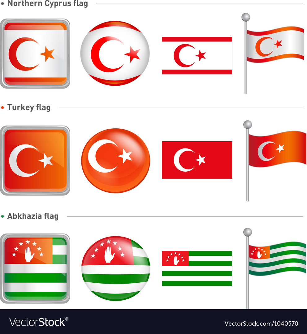 Northern cyprus abkhazia turkey flag icon vector | Price: 1 Credit (USD $1)