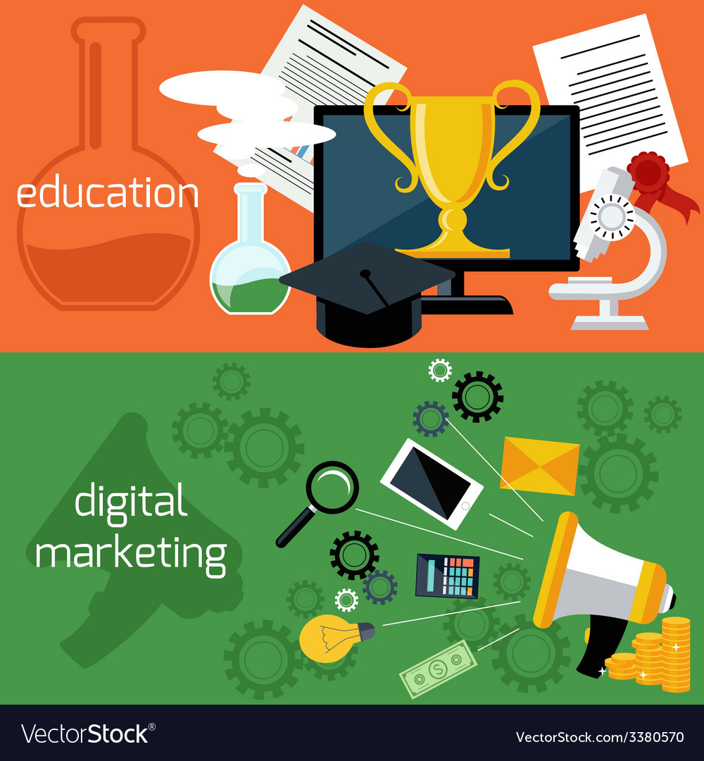 Online education and digital marketing vector | Price: 1 Credit (USD $1)