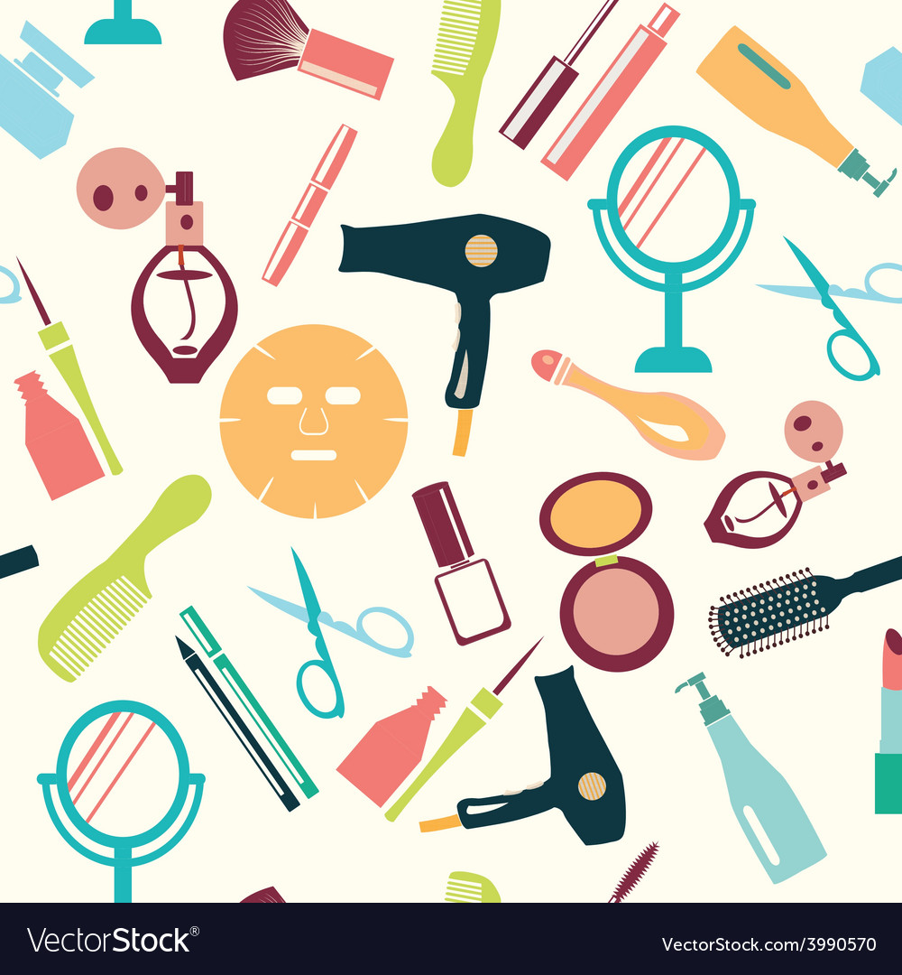 Pattern makeup and beauty cosmetic symbols pattern vector | Price: 1 Credit (USD $1)