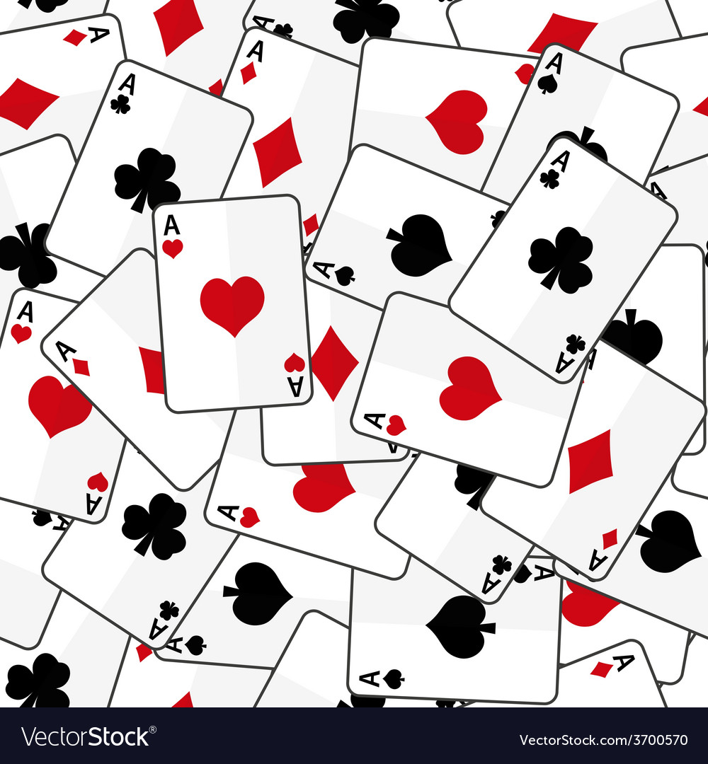 Playing cards with four aces seamless pattern vector | Price: 1 Credit (USD $1)