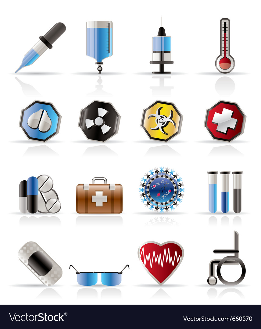 Realistic medical themed icons and warning-signs vector | Price: 1 Credit (USD $1)