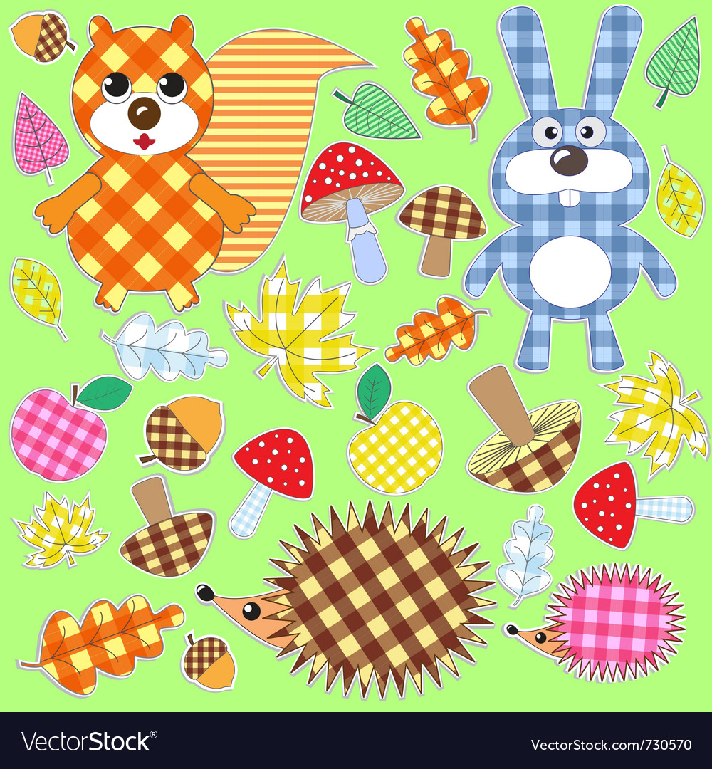 Set of textile stickers vector | Price: 1 Credit (USD $1)