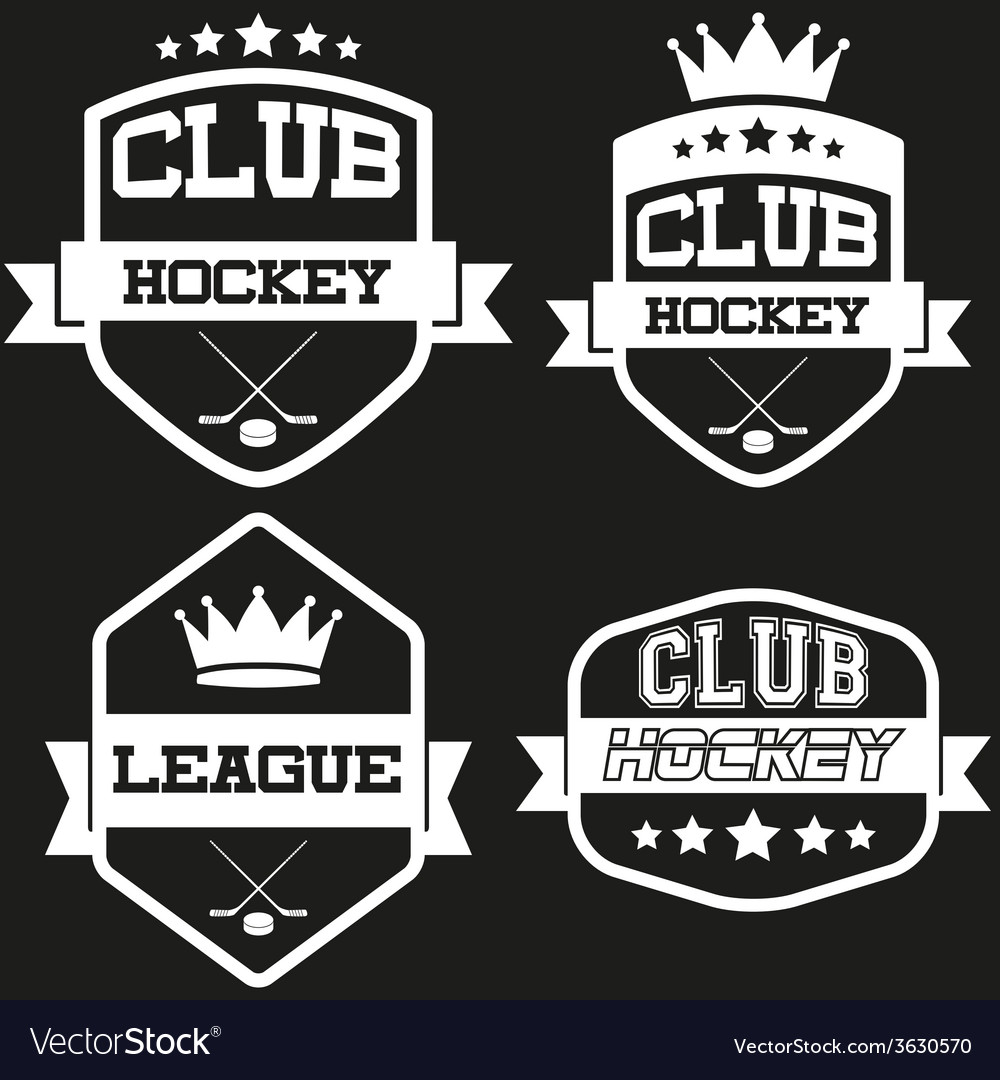 Set of vintage ice hockey club badge and label vector | Price: 1 Credit (USD $1)