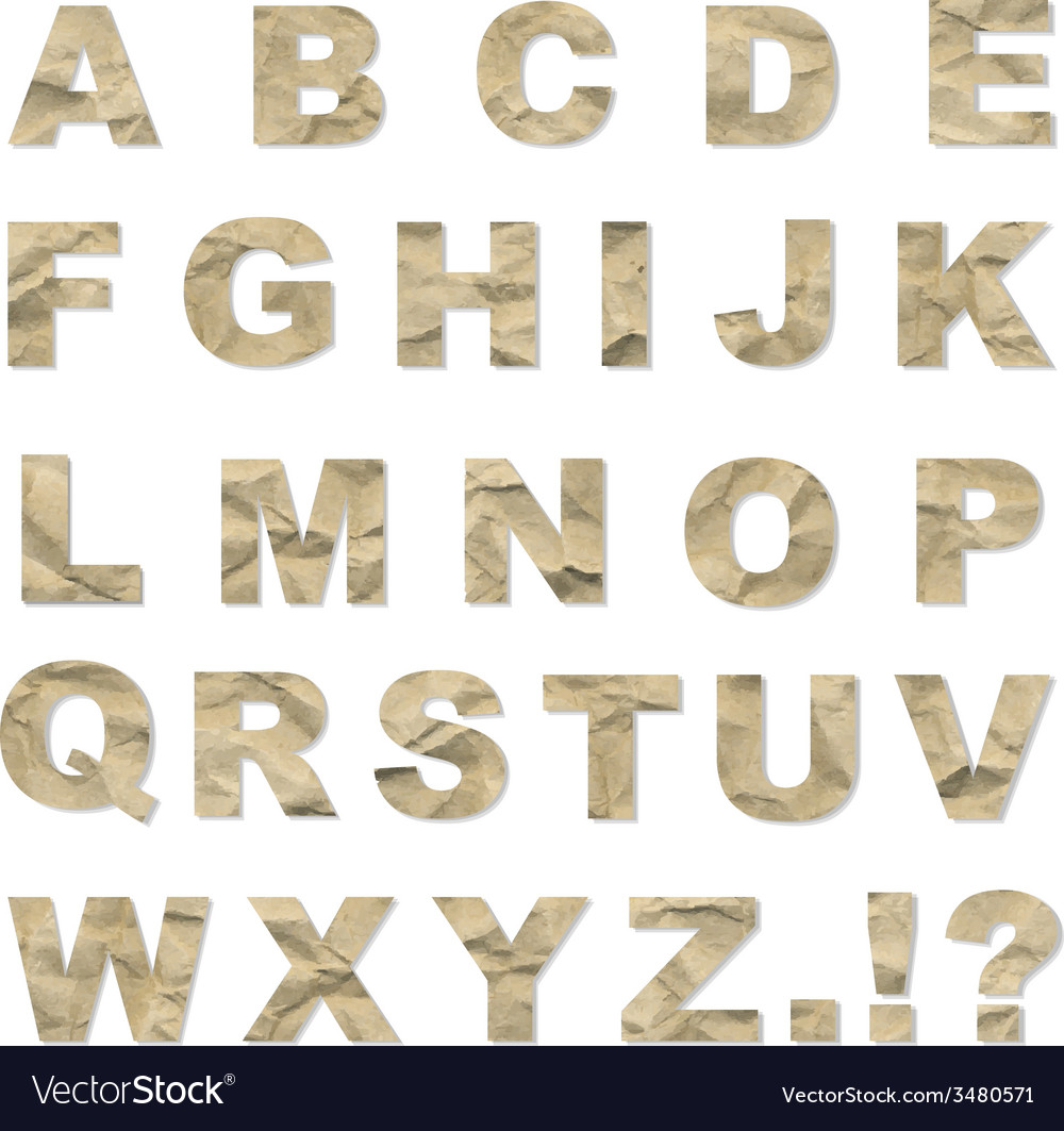 Alphabet from crushed paper vector | Price: 1 Credit (USD $1)