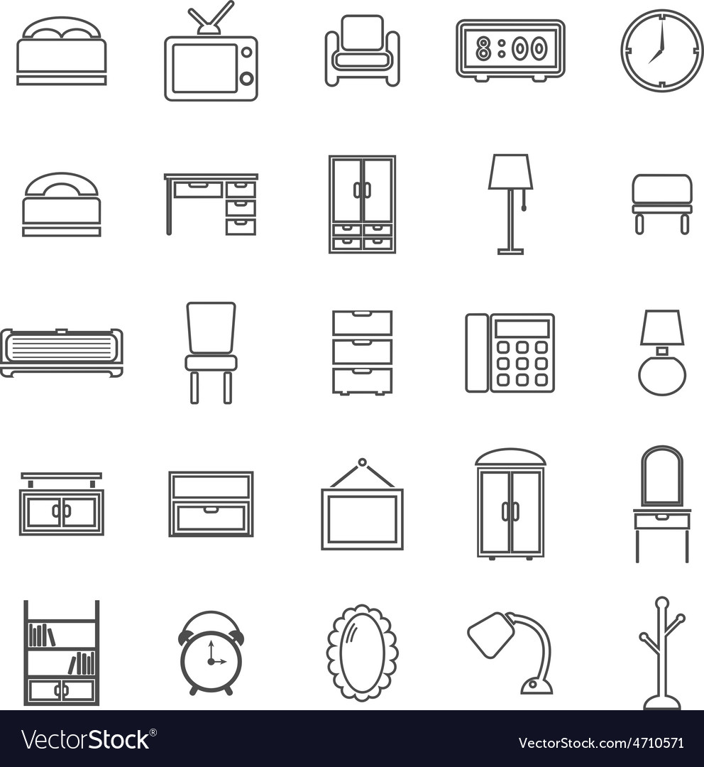 Bedroom line icons on white background vector | Price: 1 Credit (USD $1)