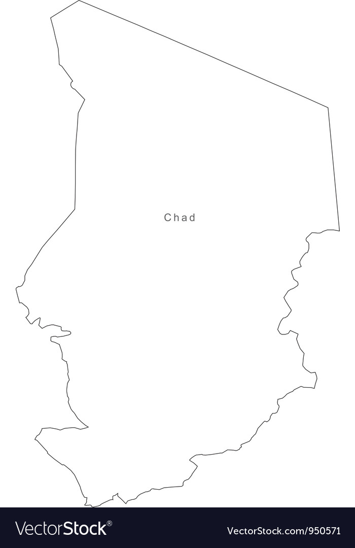 Black white chad outline map vector | Price: 1 Credit (USD $1)
