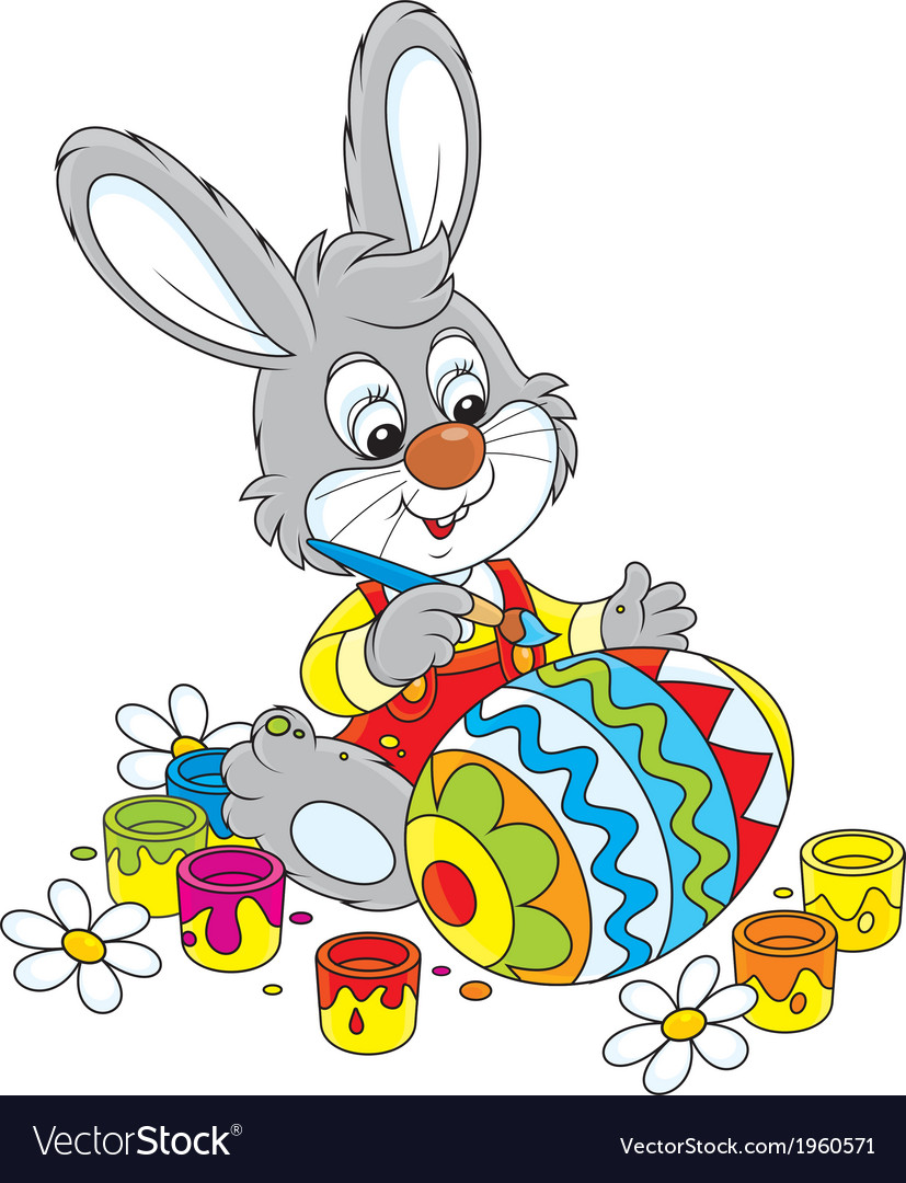 Bunny paints an easter egg vector | Price: 1 Credit (USD $1)
