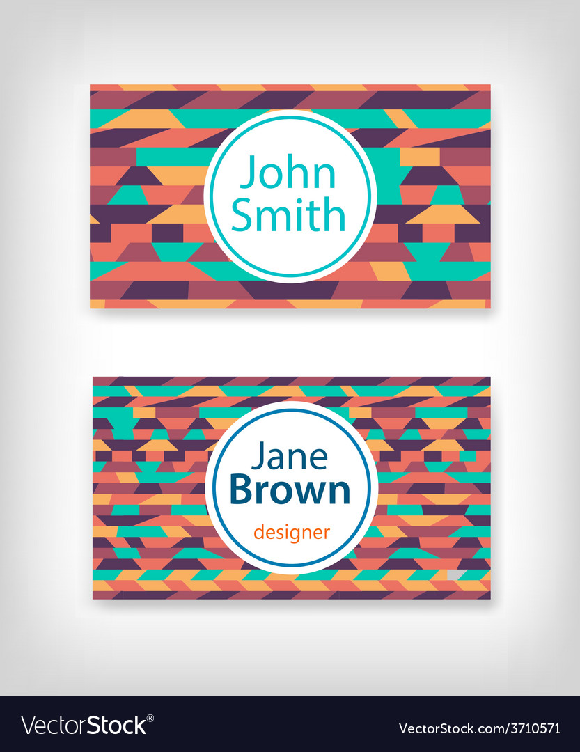 Business card design with ethnic pattern vector | Price: 1 Credit (USD $1)