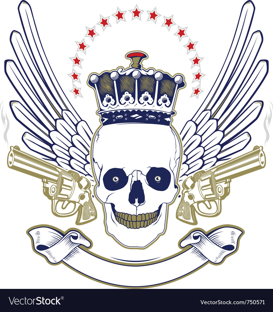 Crown skull wing emblem with smoke guns vector | Price: 1 Credit (USD $1)