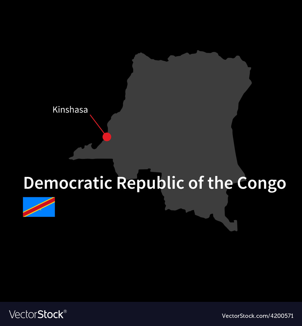 Detailed map of democratic republic of the congo vector | Price: 1 Credit (USD $1)