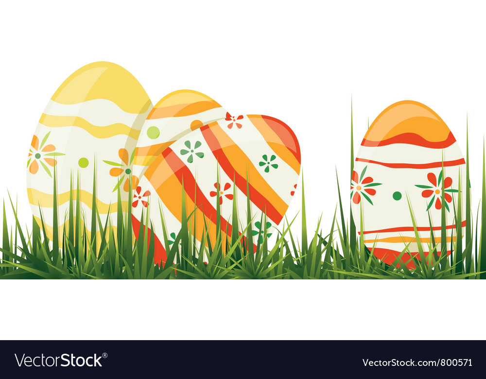 Easter eggs in grass vector | Price: 1 Credit (USD $1)