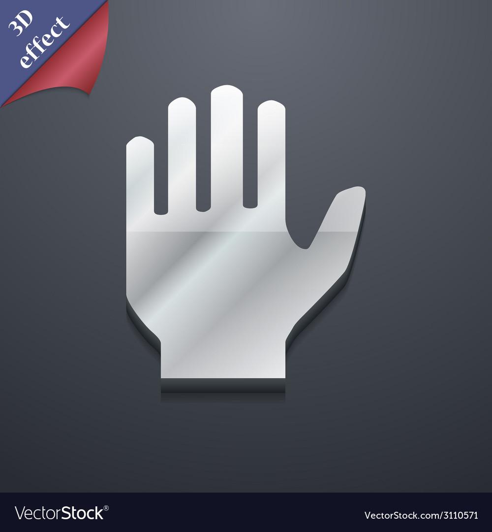 Hand print icon symbol 3d style trendy modern vector | Price: 1 Credit (USD $1)