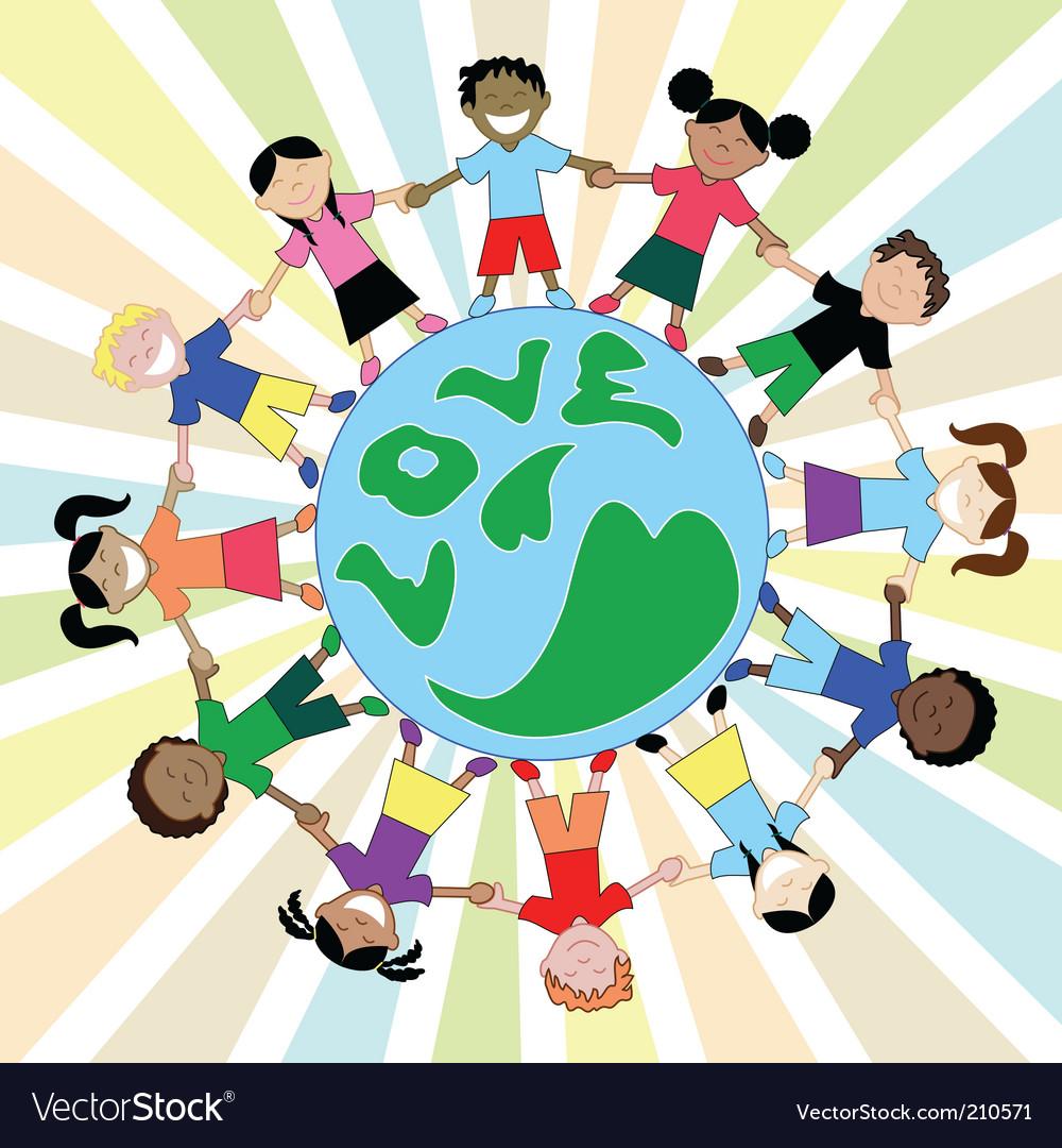 Kids love globe vector   Price: 1 Credit (USD $1)