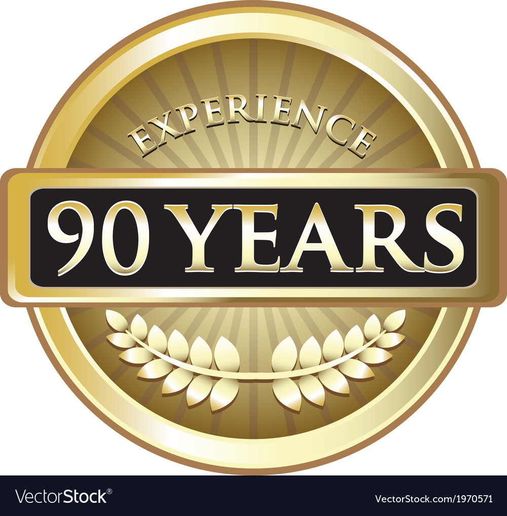 Ninety years experience gold vector | Price: 1 Credit (USD $1)