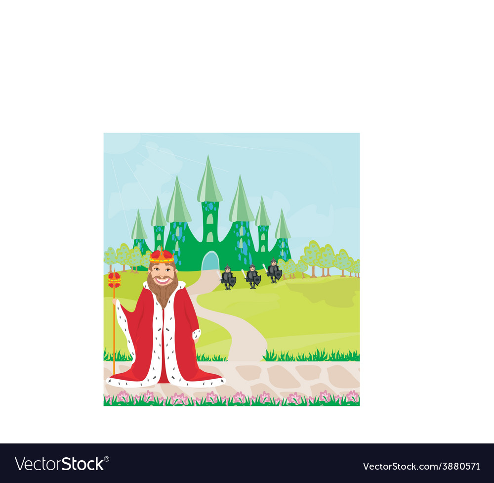 Smiling king looks at the castle vector | Price: 1 Credit (USD $1)